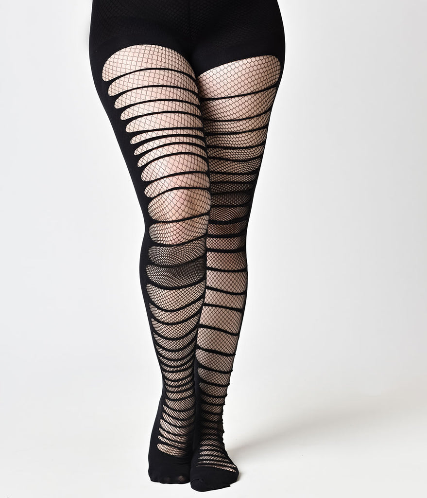Black Double Layer Shredded & Fishnet Tights