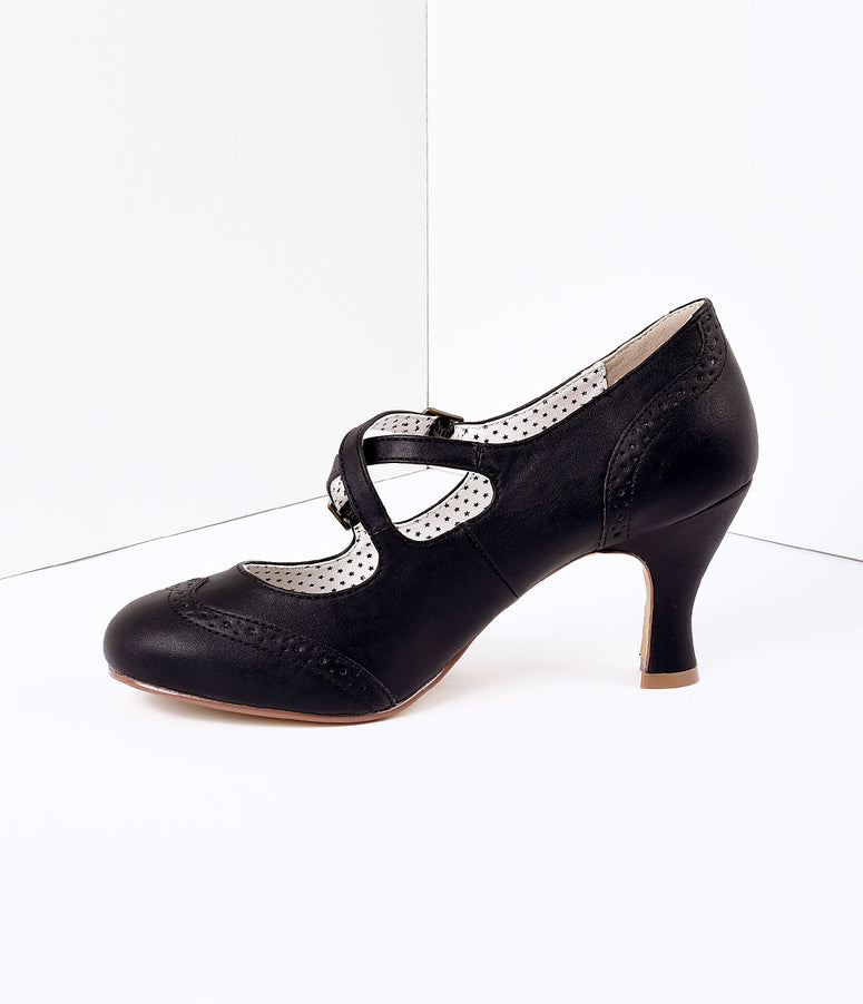 Black Faux Leather Detailed Heel