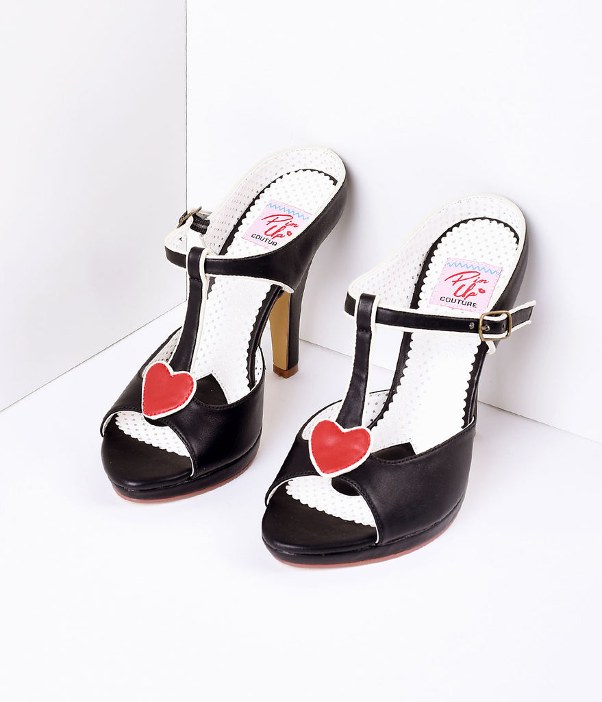 Black Faux Leather Heart Detail Sandal