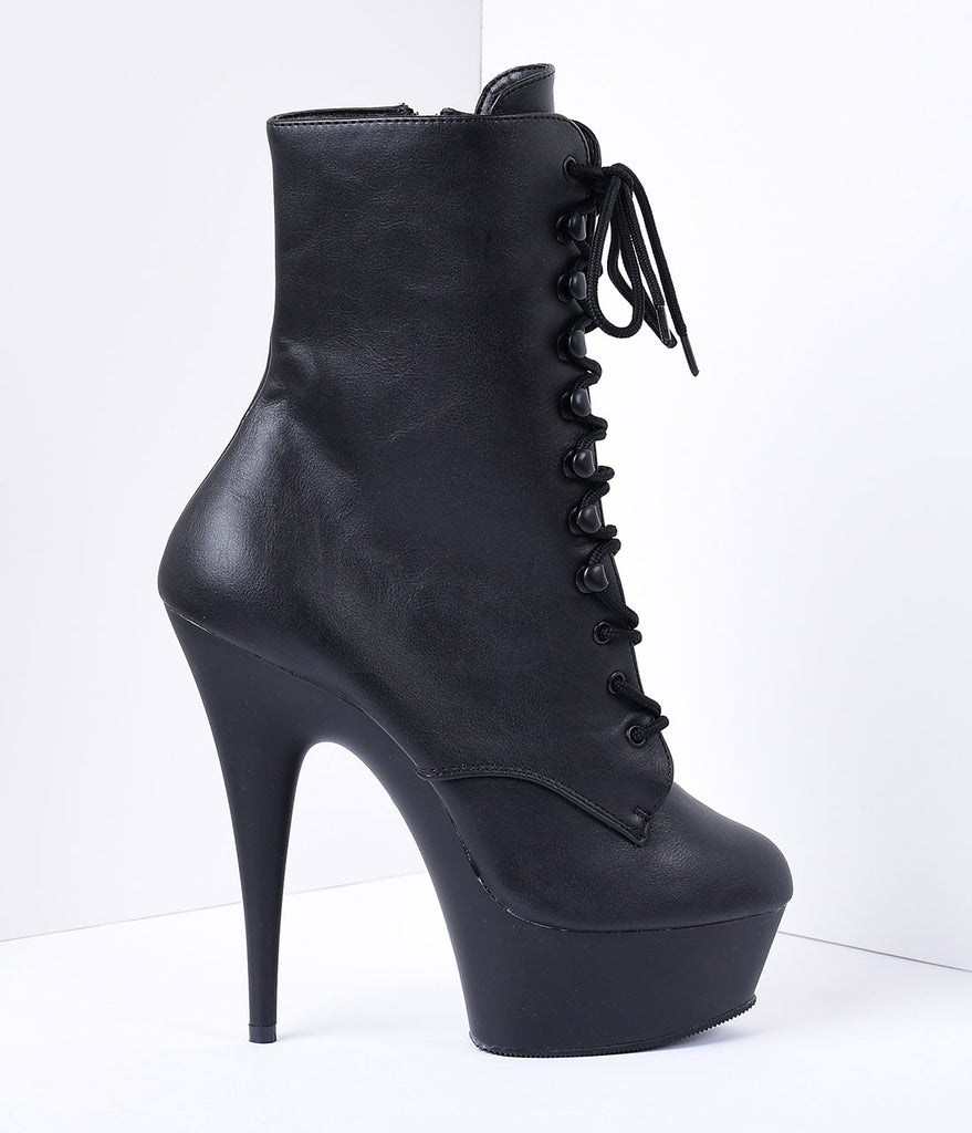 Black Faux Leather Lace Up Stiletto Platform Ankle Boots