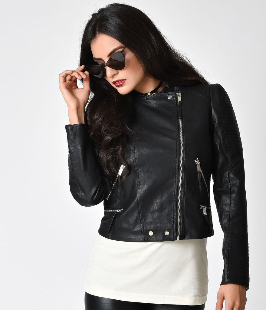 Black Faux Leather Long Sleeve Ribbed Moto Jacket