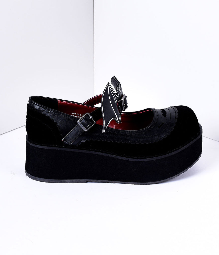 Black Faux Leather & Velvet Platform Mary Jane Creeper