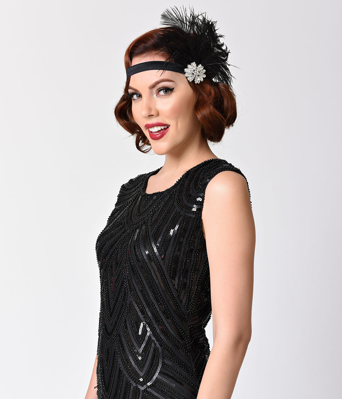 1920s Flapper Headband, Gatsby Headpiece, Wigs Black Feather  Silver Crystal Olive Headband $42.00 AT vintagedancer.com