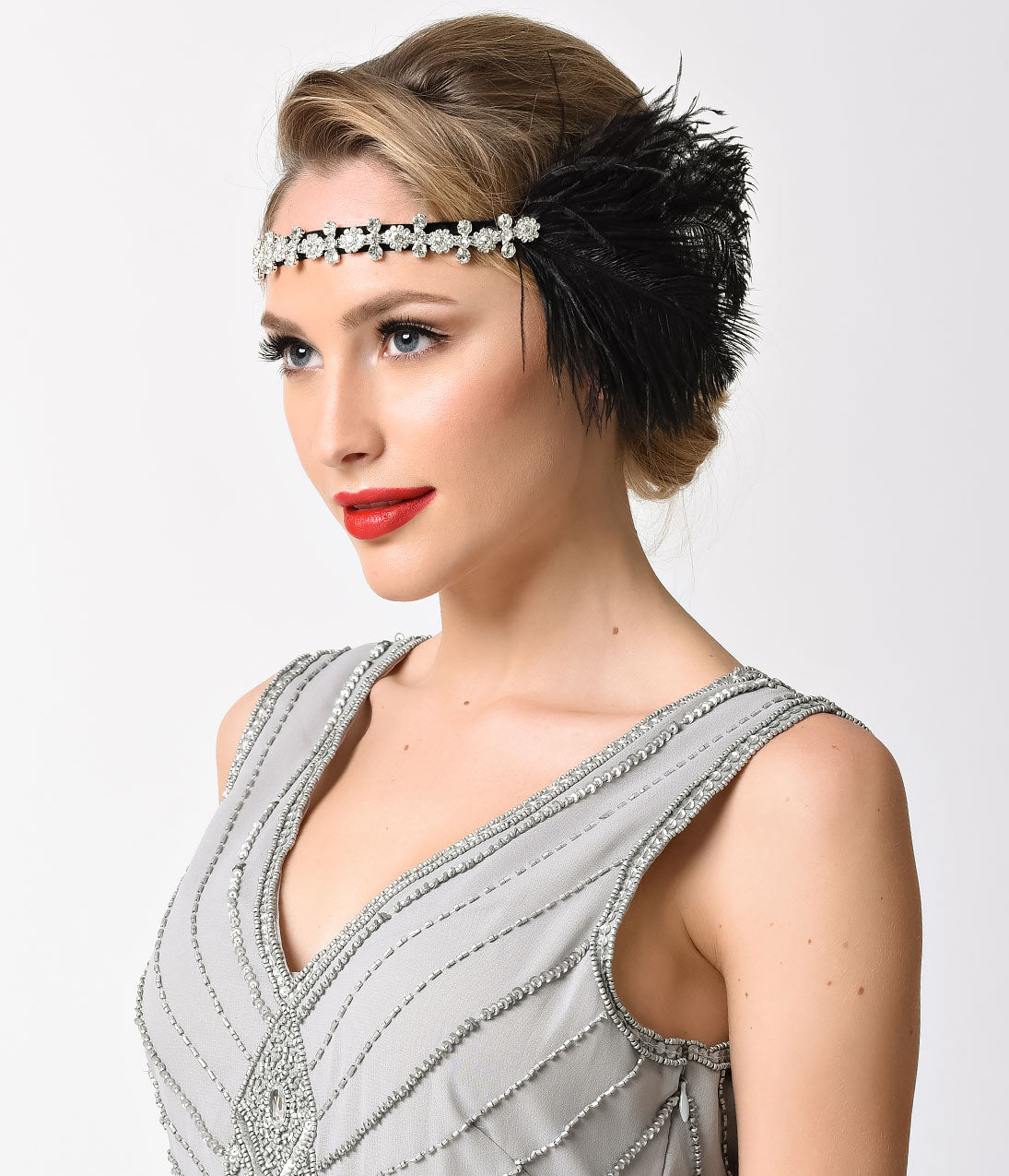 1920s Hairstyles History- Long Hair to Bobbed Hair Black Feather  Silver Rhinestone Gatsby Headband $48.00 AT vintagedancer.com