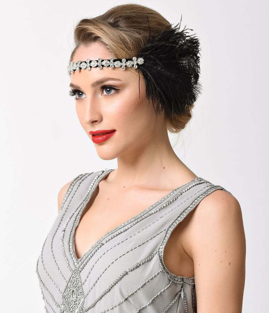 Black Feather & Silver Rhinestone Gatsby Headband