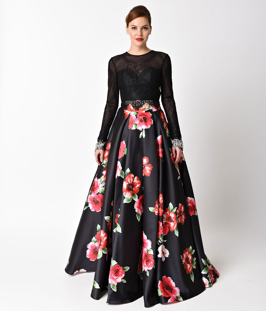 Black Floral Print Long Sleeve Two Piece Gown – Unique Vintage