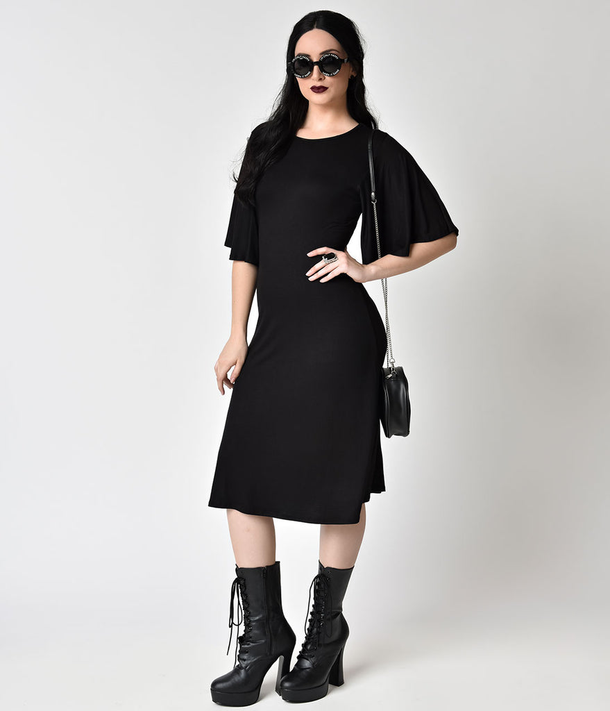 Black Flutter Sleeve Stretch Knit Shift Dress