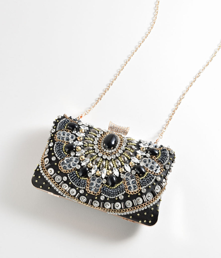 Black & Gold Jewel & Beaded Embellished Hard Clutch