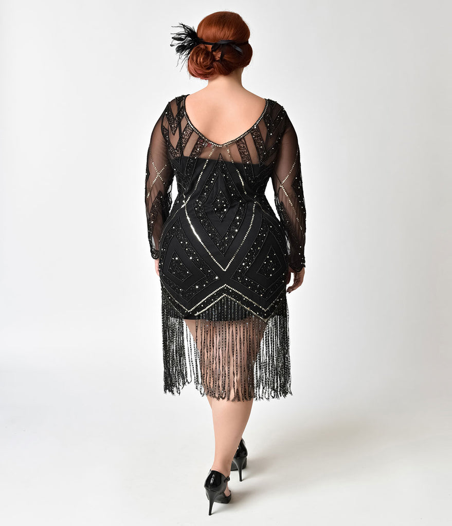 Black & Gold Plus Size Beaded Sheer Long Sleeve Betty Flapper Dress