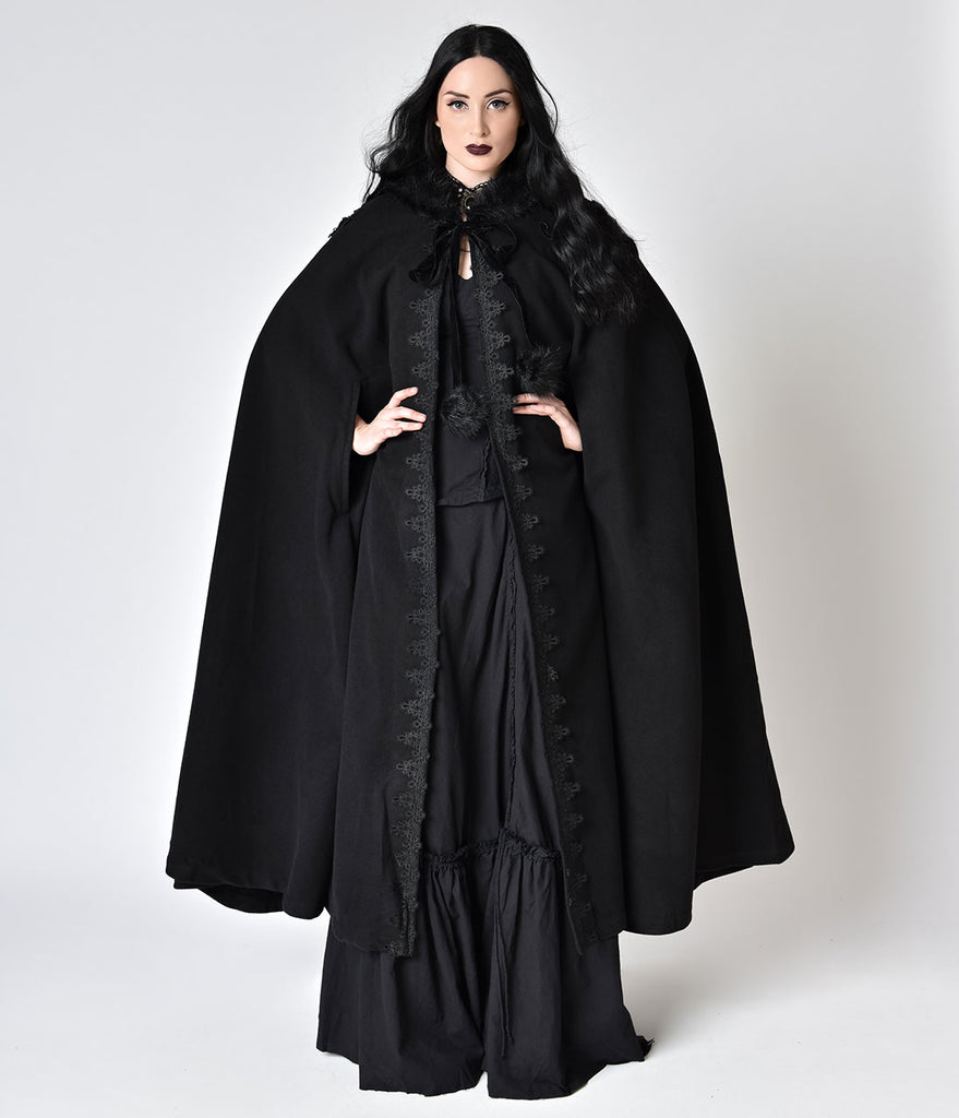 black gothic witch embroidered asymmetry hooded cloak unique vintage