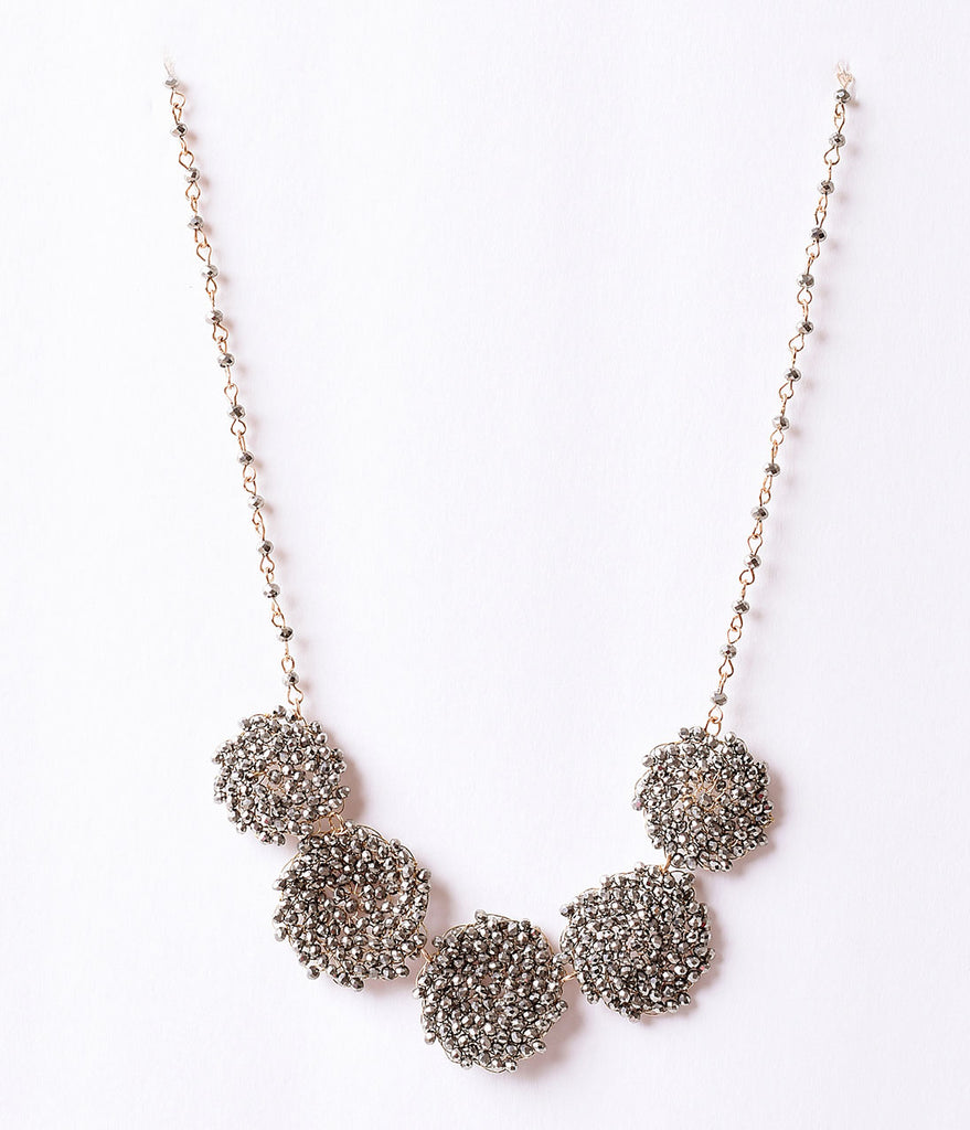 Black Gunmetal Swirl Beaded Crystal & Gold Necklace