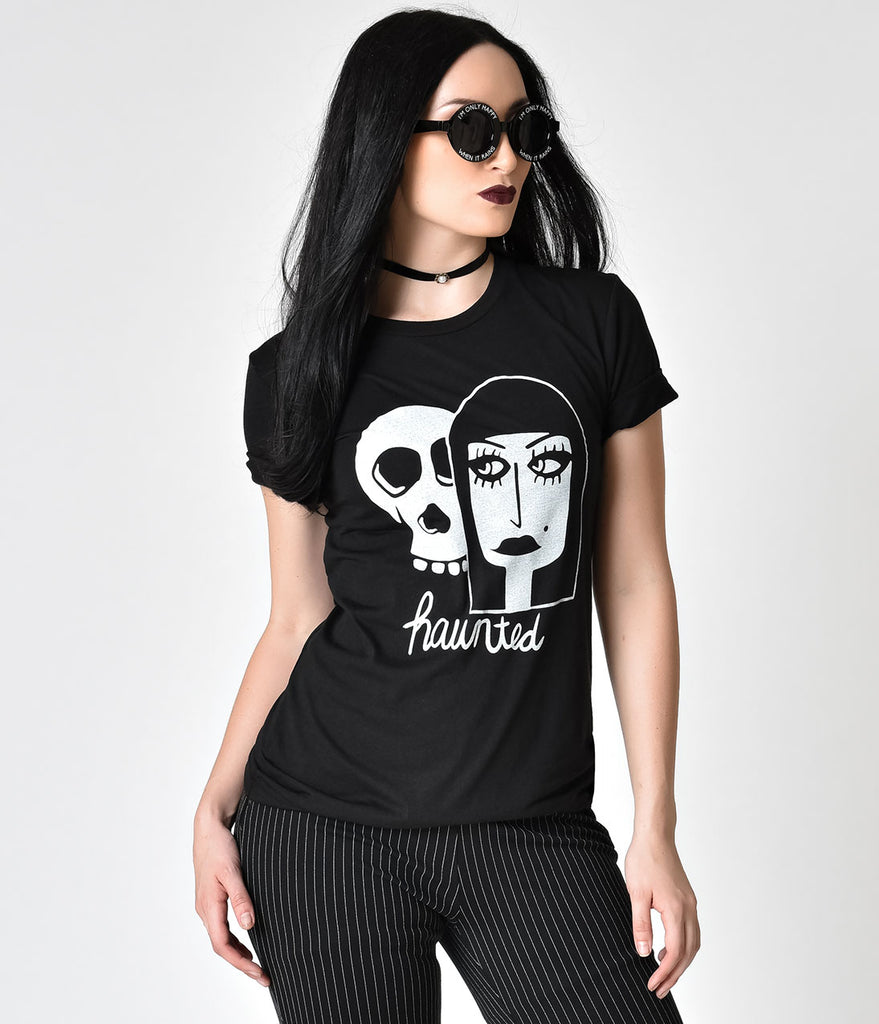 Black Haunted Graphic Short Sleeve Unisex Tee