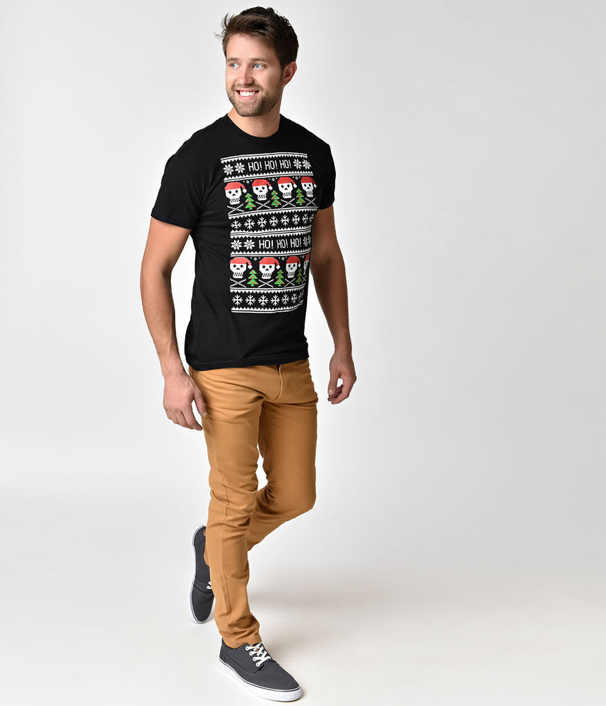 Black Ho Ho Ho Santa Skull Mens Cotton Tee