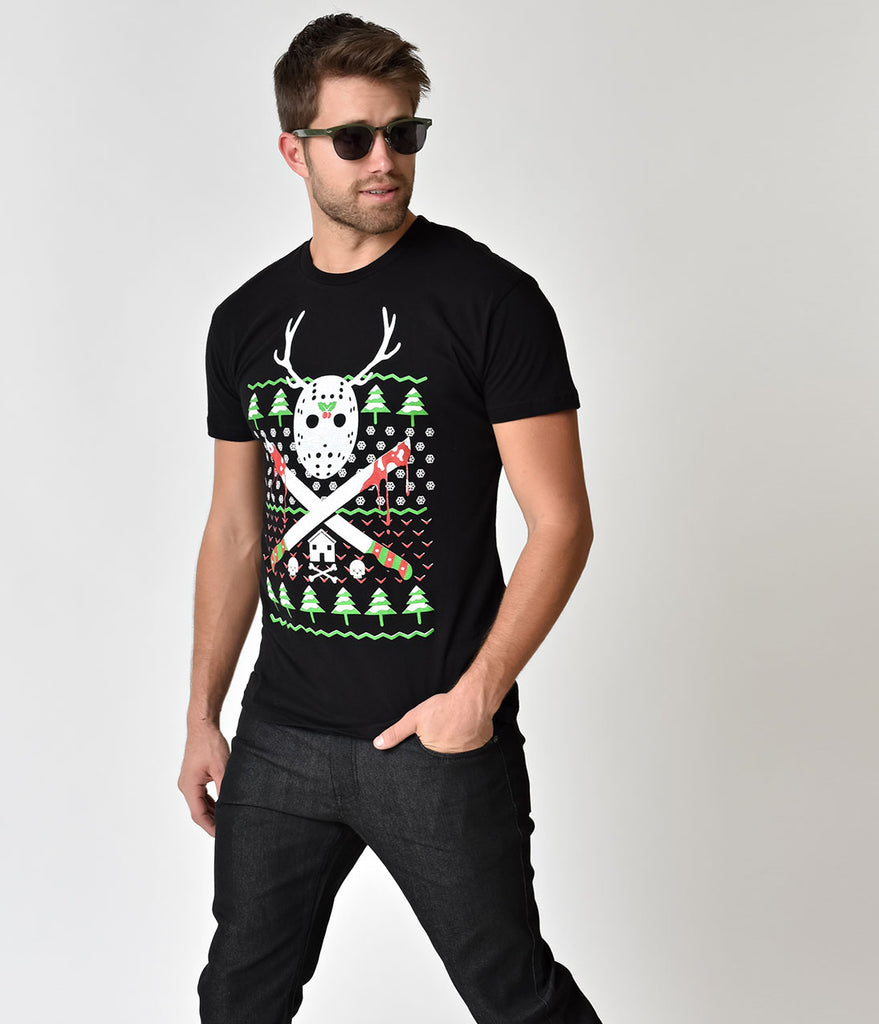Black Holiday Reindeer Games Mens Cotton Tee