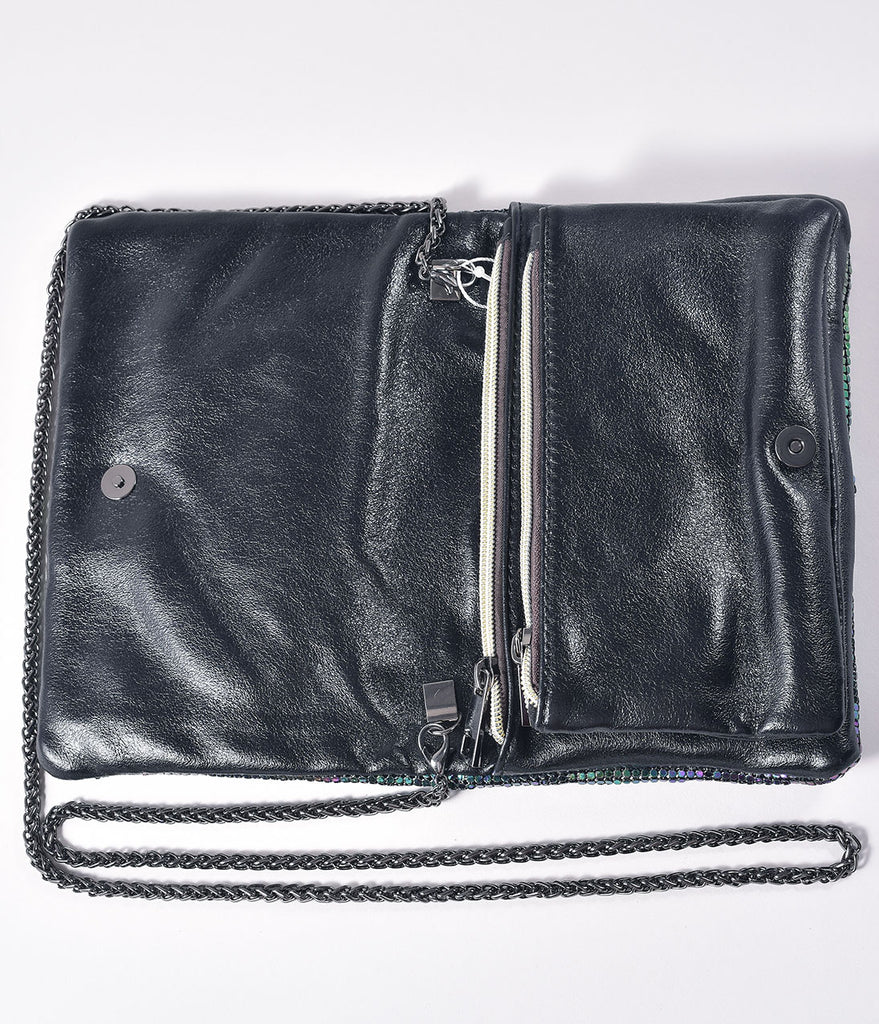 Black Iridescent Beaded Envelope Purse