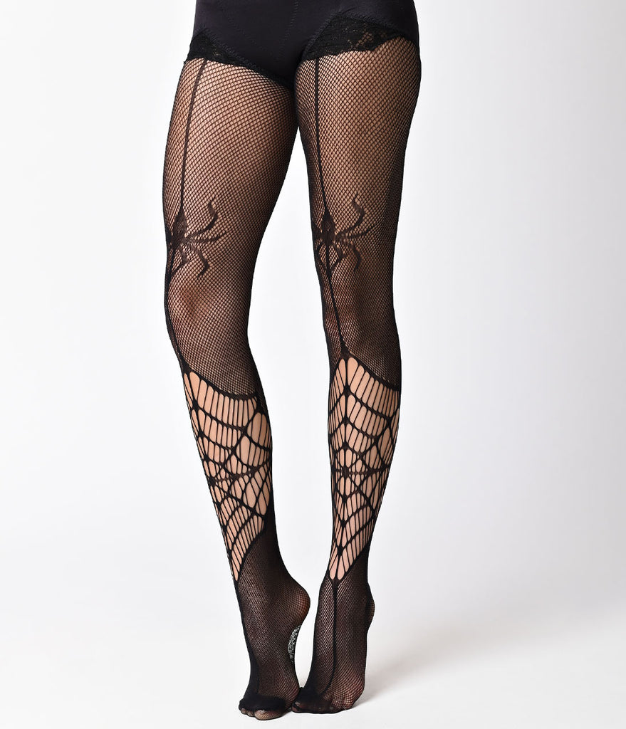 Black Itsy Bitsy Spider Web Fishnet Pantyhose