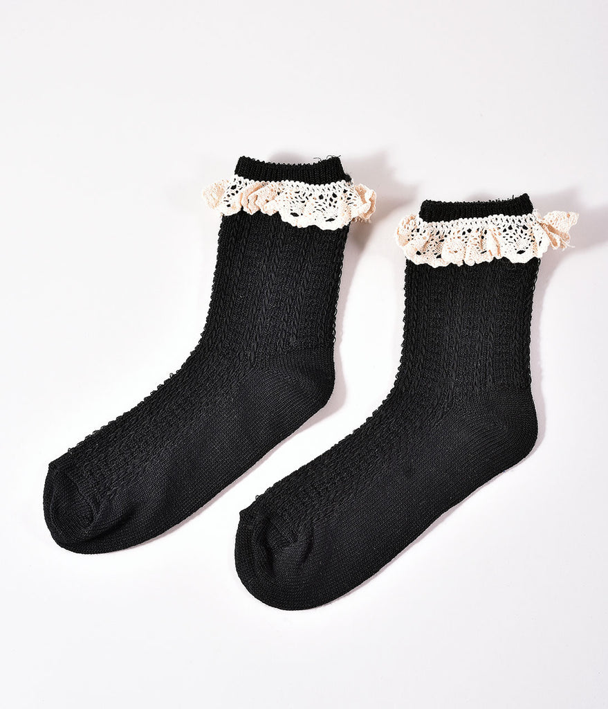 Black & Ivory Ruffled Lace Ankle Knit Socks