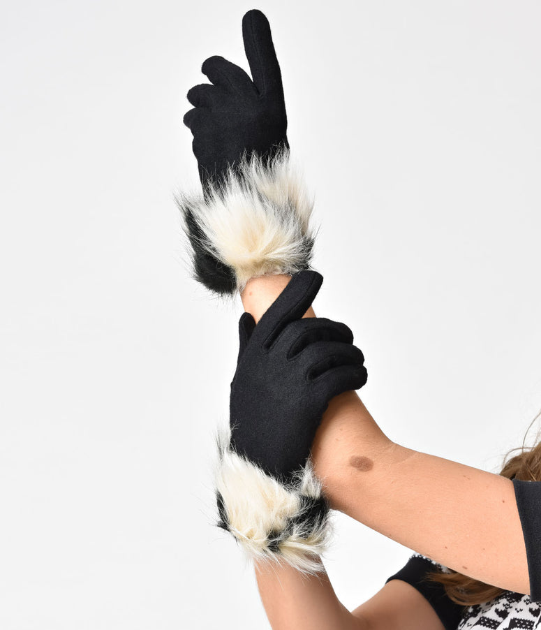 Black & Ivory Wool & Fur Bardot Gloves