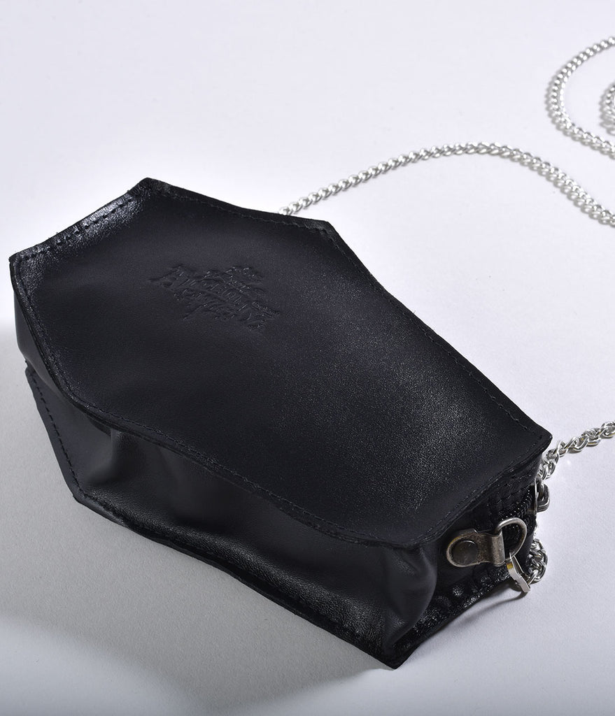 Black Leather & Silver Pewter Coffin Purse