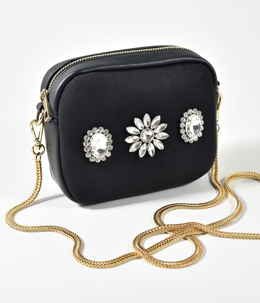 Black Leatherette & Crystal Flowers Crossbody
