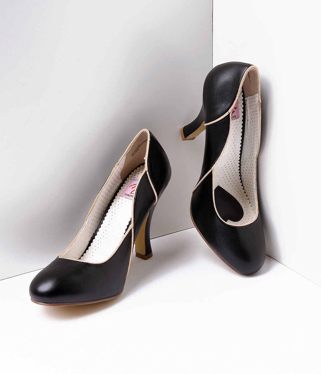 Pin Up Shoes- Heels, Pumps & Flats Black Leatherette Heel With Gold Accents $62.00 AT vintagedancer.com