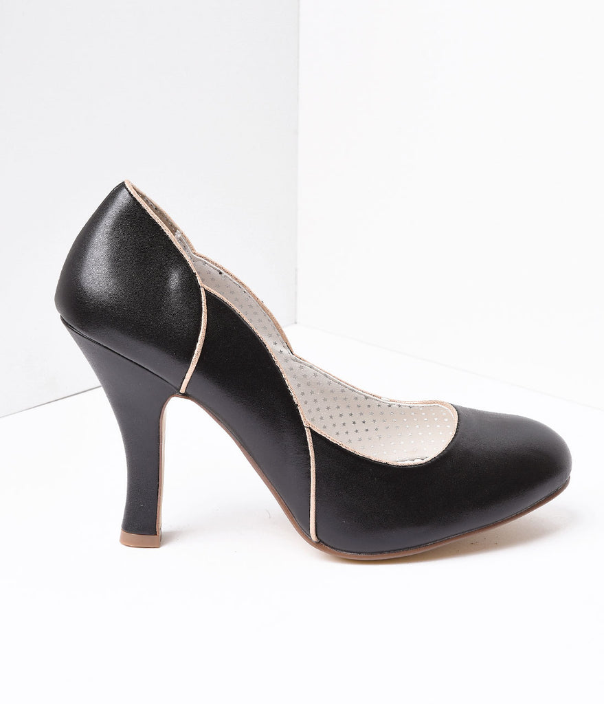 Black Leatherette Heel With Gold Accents
