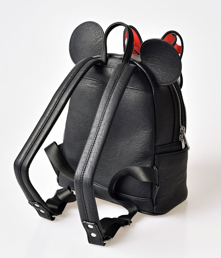 Black Leatherette Minnie Mouse Mini Backpack