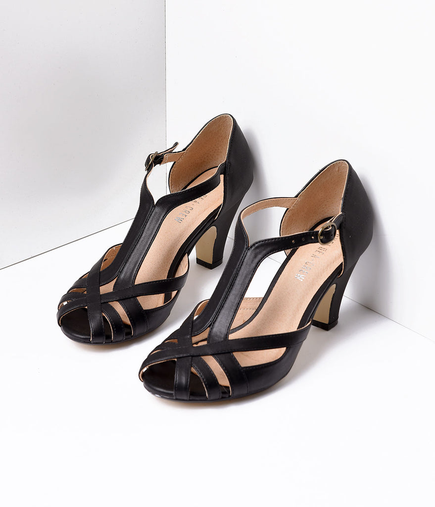 Black Leatherette Peep Toe Woven Strap Pump