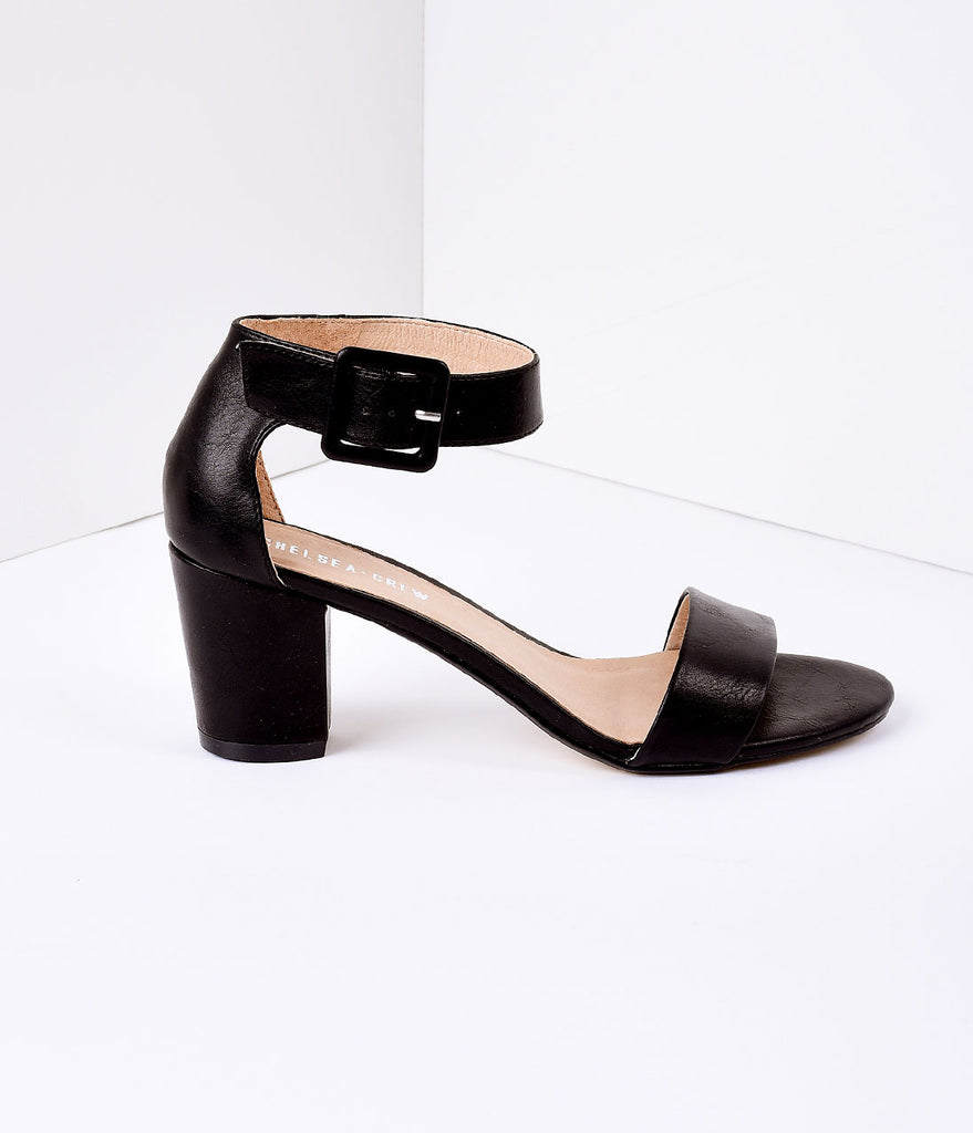 Black Leatherette Sandal Buckle Strap Pumps