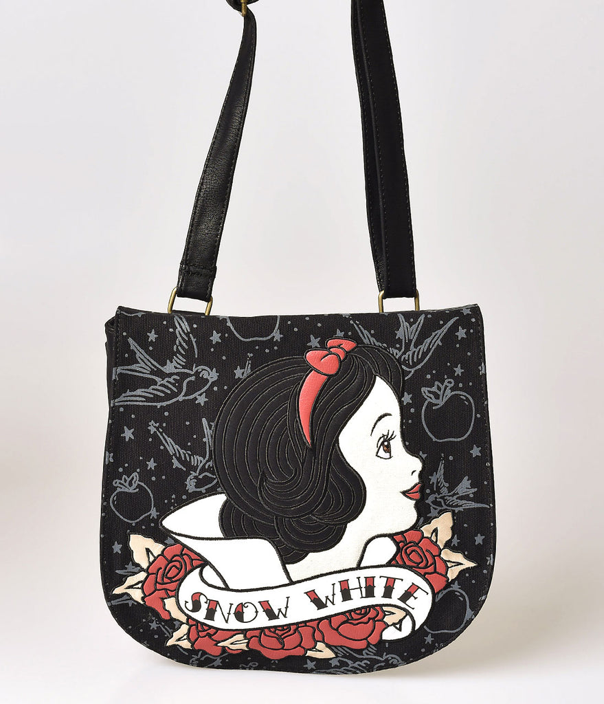 Black Leatherette Snow White Tattoo Crossbody Saddle Bag