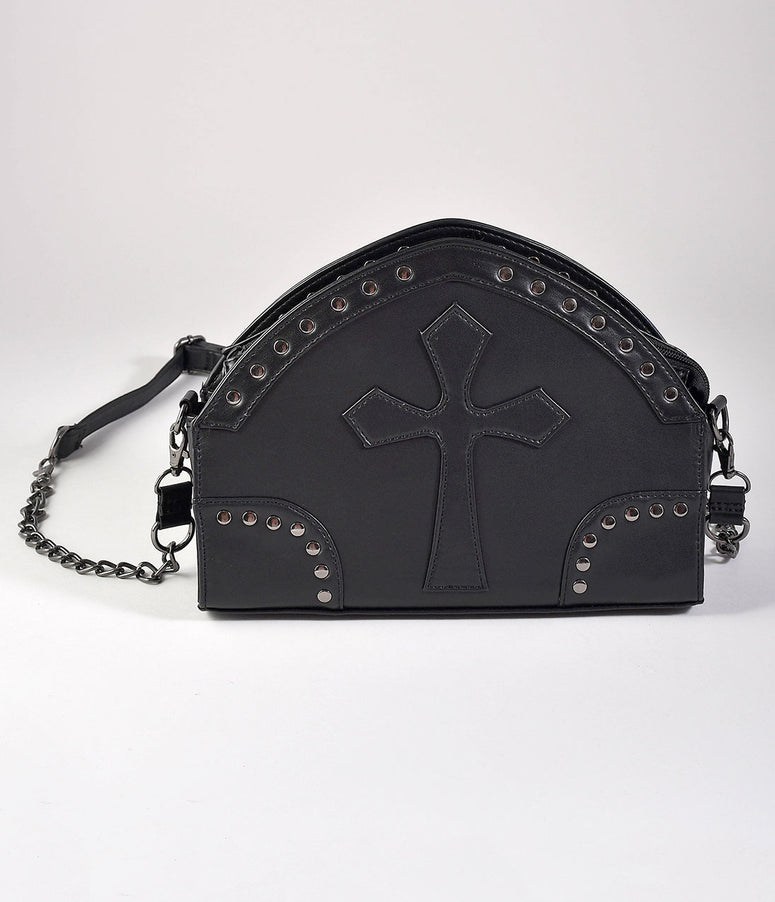 Black Leatherette Studded Gothic Cross Shoulder Purse