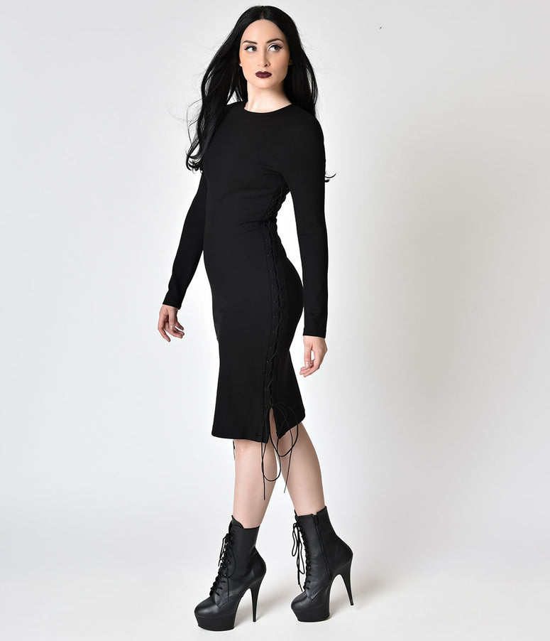 Black Long Sleeve Stretch Lace Up Wiggle Dress