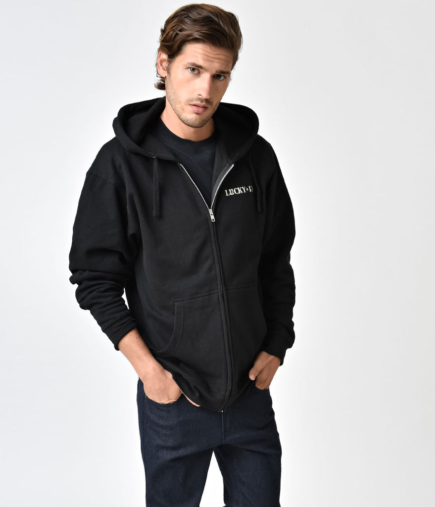 Black Long Sleeve The American Original Full Zip Mens Hoodie