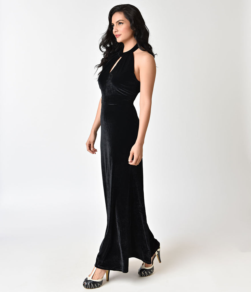 Black Luxurious Velvet Eleanor Halterneck Maxi Dress