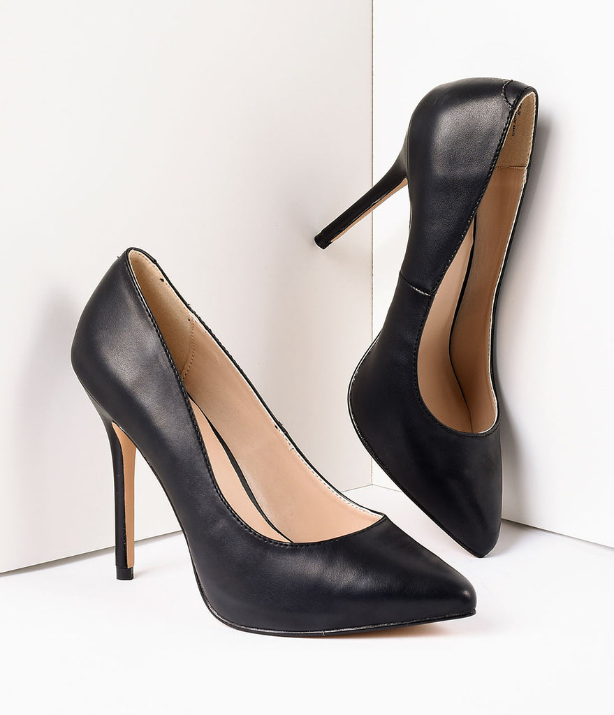 Black Matte Leather Amuse Heels