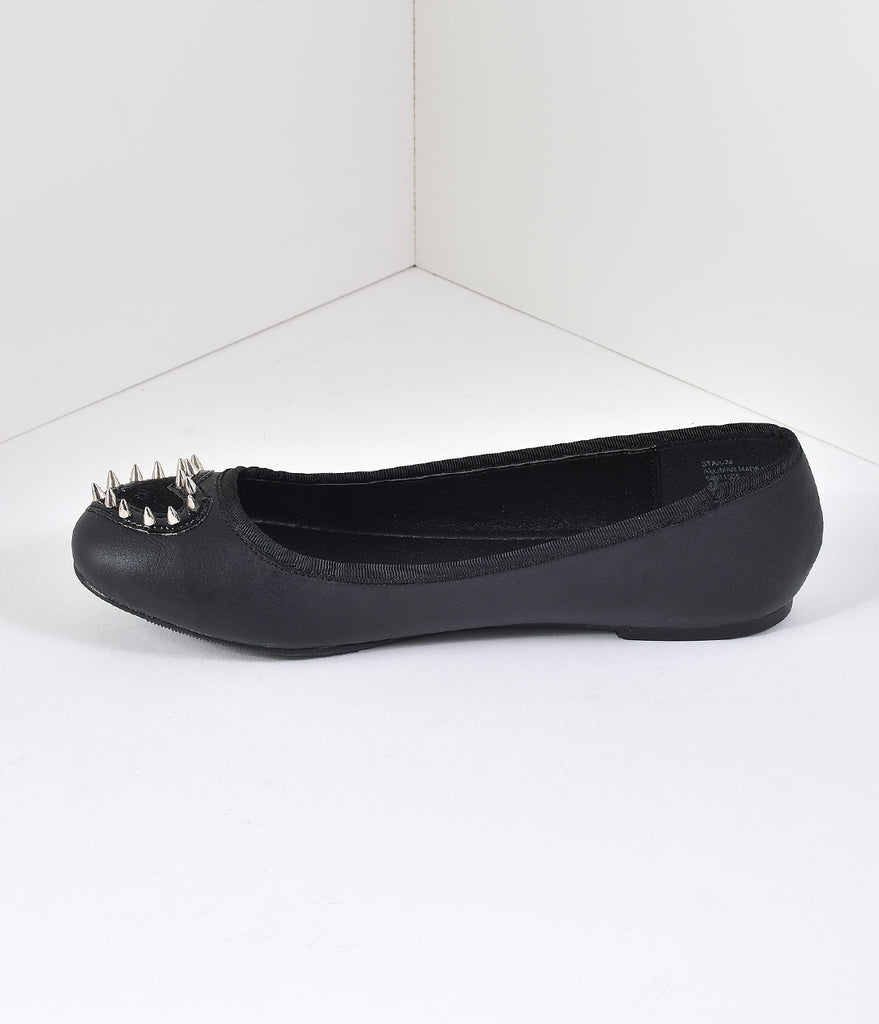 Black Matte Leatherette Spiked Heart Flats