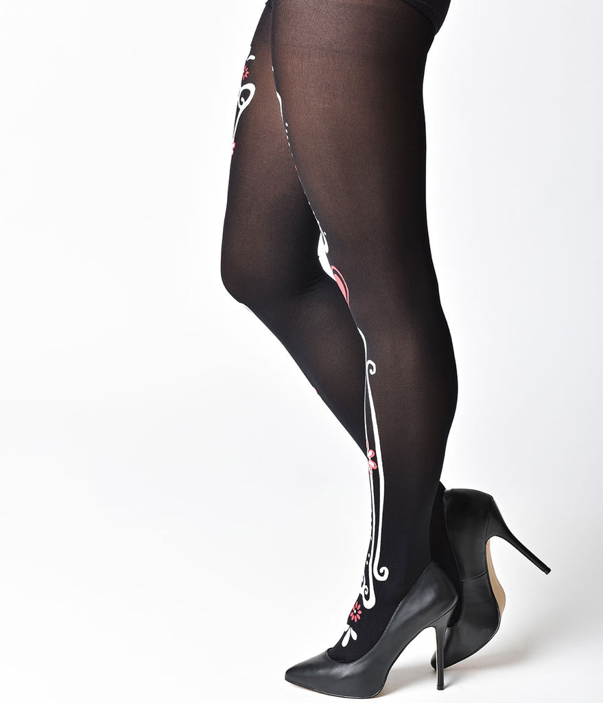 Black Nylon Bone & Heart Print Pantyhose
