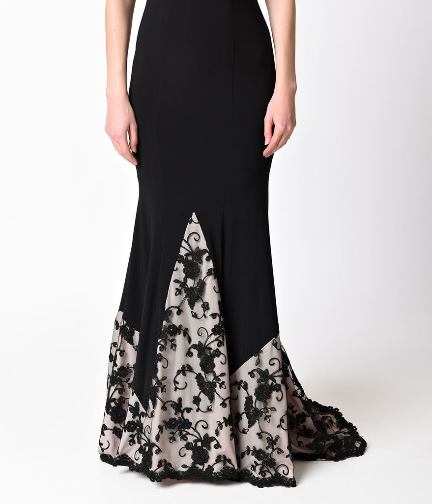 Black Off the Shoulder Print Long Dress