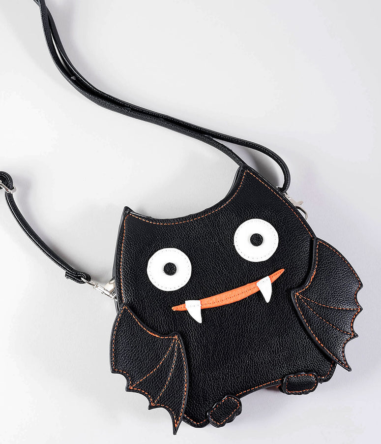 Black & Orange Vinyl Crazy Bat Shoulder Handbag