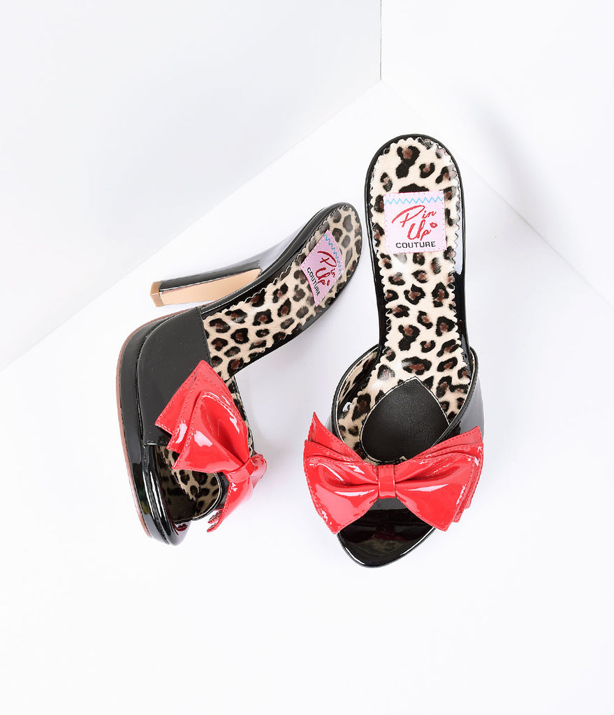 Black Patent Leather with Red Bow Sandal