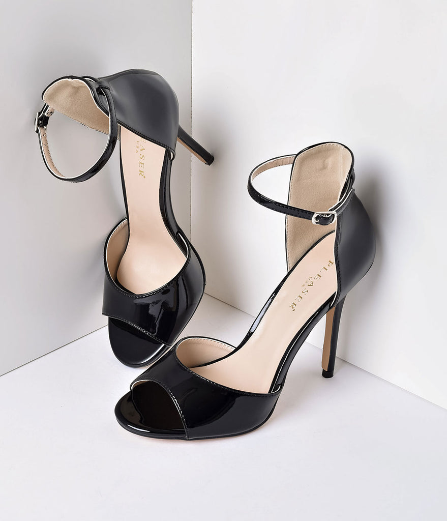 Black Patent Ankle Strap Amuse Sandal Pumps