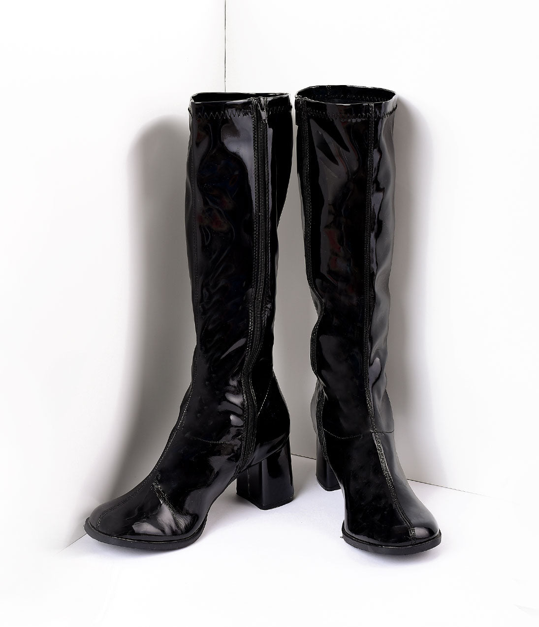Vintage Boots- Buy Winter Retro Boots Black Patent Knee High Go Go Boots $58.00 AT vintagedancer.com