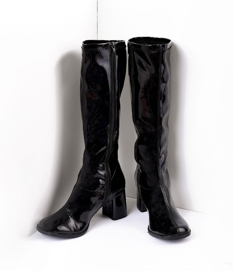 Black Patent Knee High Go Go Boots