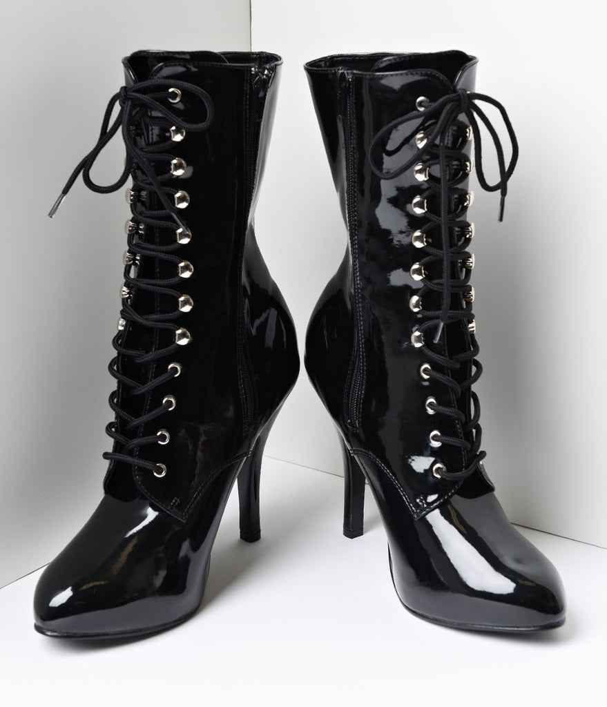 Black Patent Leather Lace Up Stiletto Ankle Boots