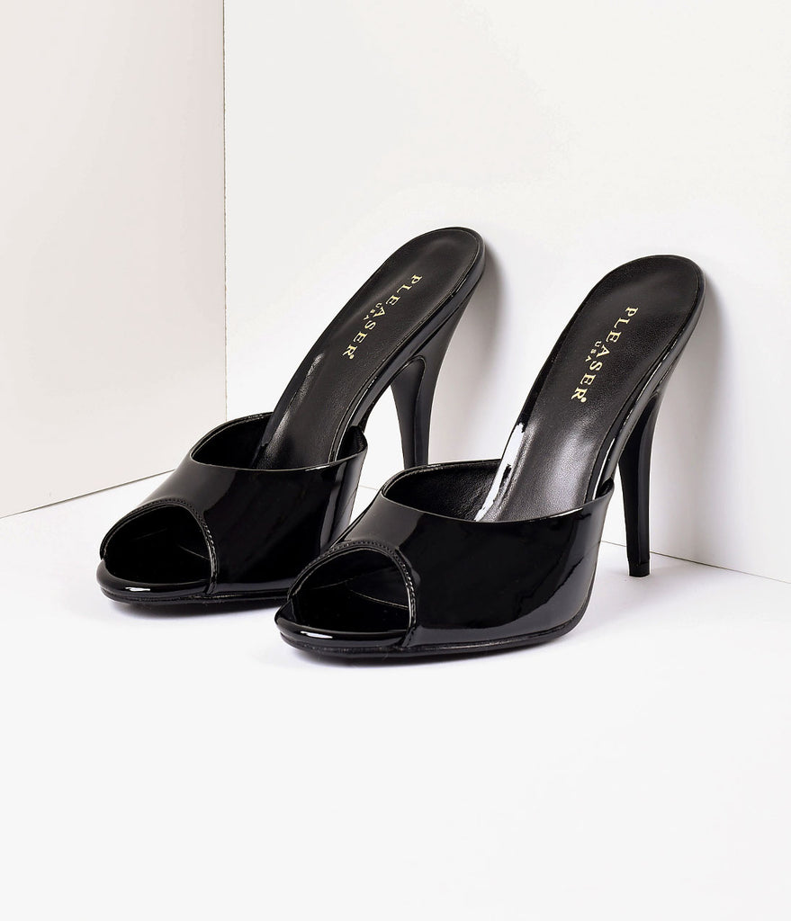 Black Patent Leather Peep Toe Slip On Mule Heel