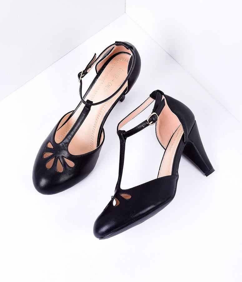 Black Pleather Cutout Kimmy T-Strap Heels