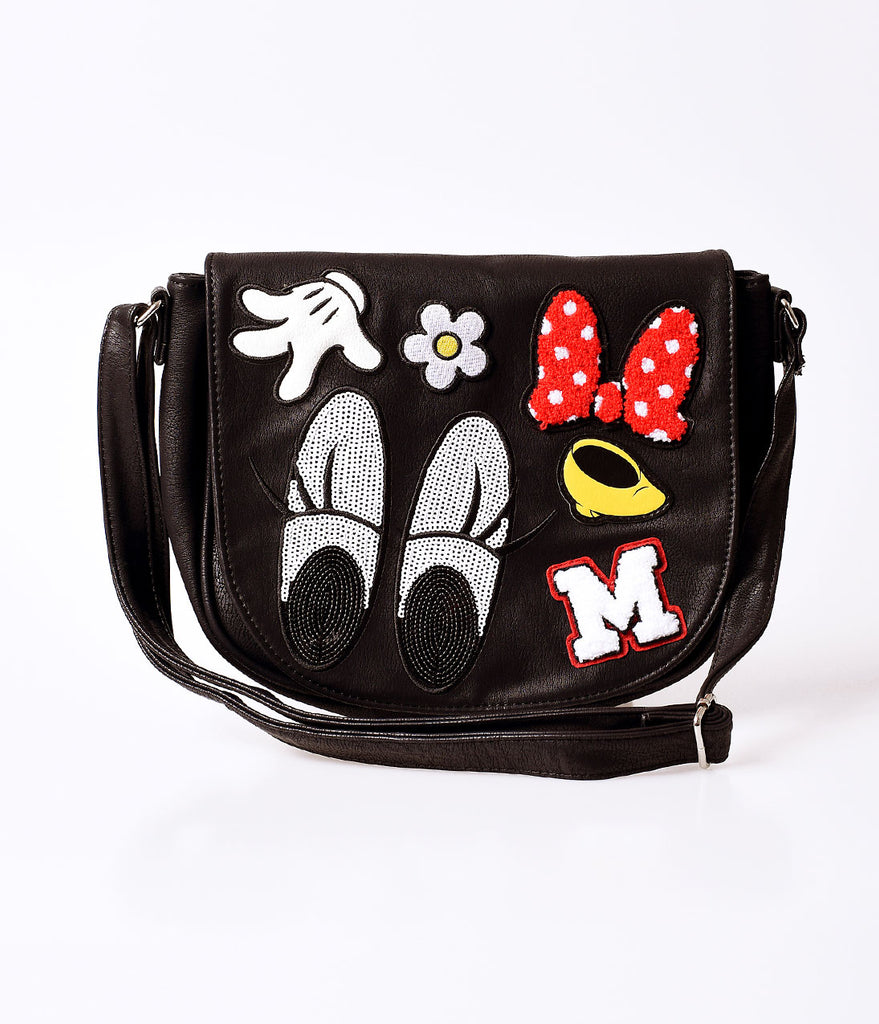 Black Pleather Minnie Mouse Patches Saddle Bag
