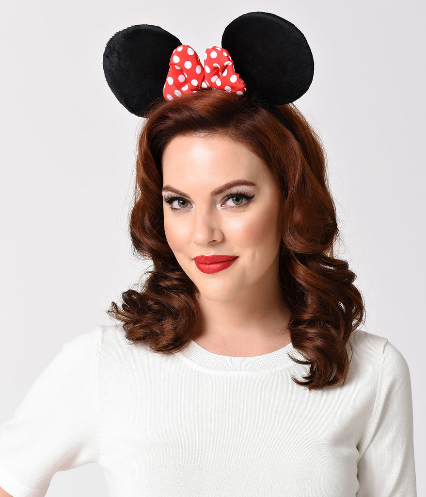 Black Plush Ears & Polka Dot Bow Minnie Mouse Headband