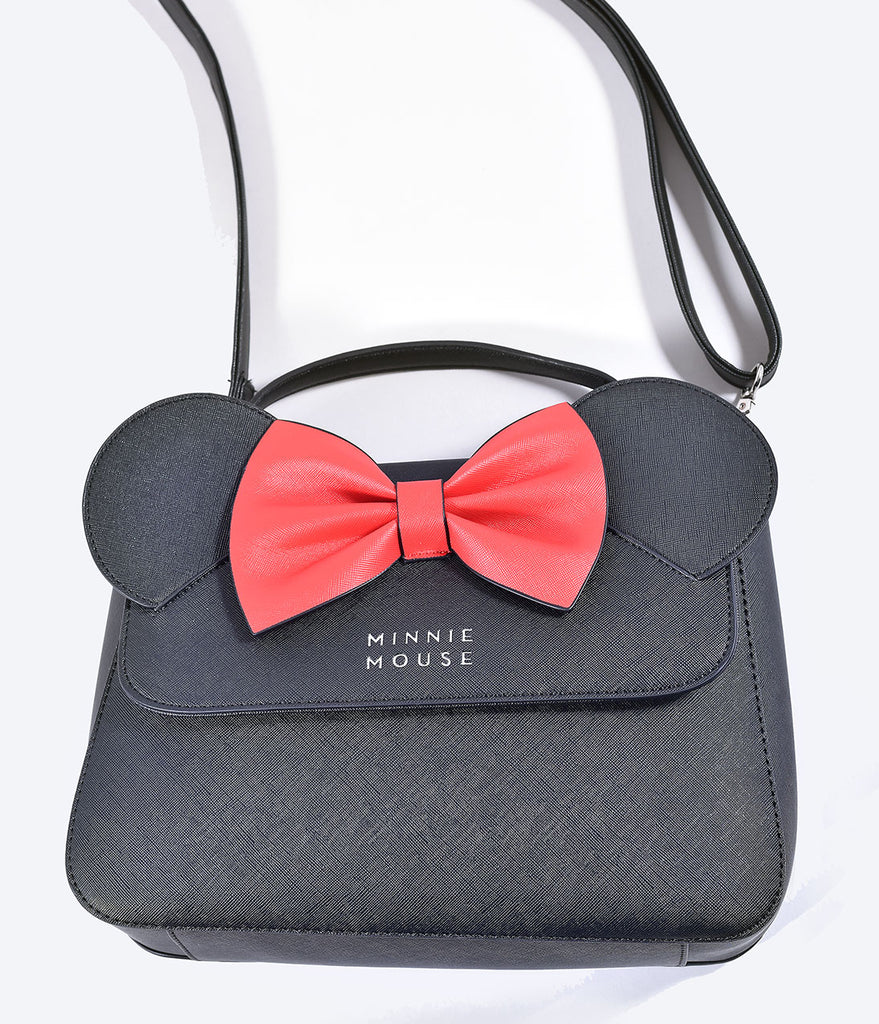 Loungefly Black & Red Bow Leatherette Minnie Mouse Crossbody Bag