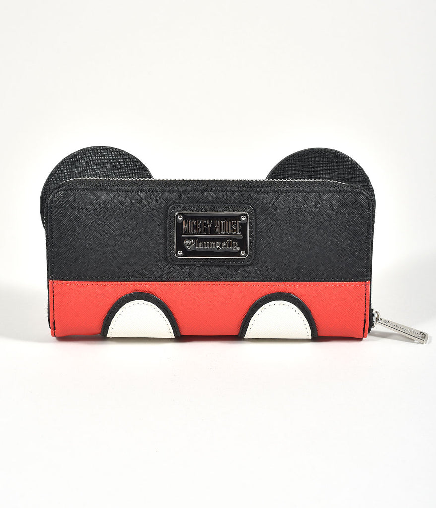 Loungefly Loungefly Black & Red Mickey Mouse Leatherette Zipper Wallet